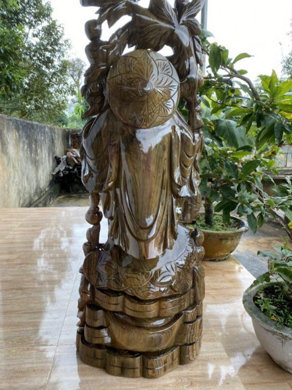 Tượng di lặc quẩy đào gỗ thủy tùng xanh 116-47