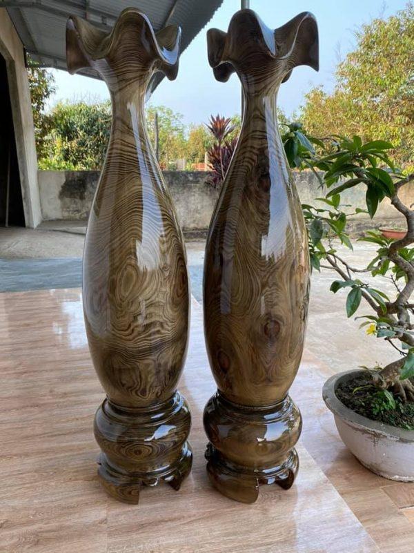 Lục bình tỳ bà gỗ thủy tùng xanh cao 115 - 28 cm