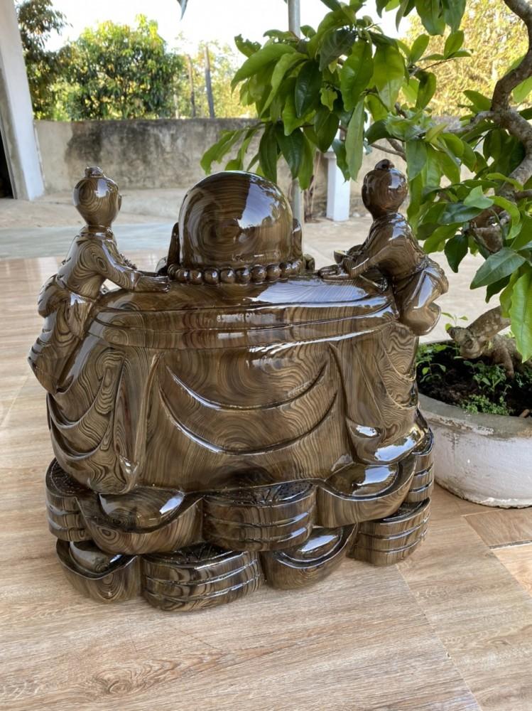 tượng phật di lặc ngồi gỗ thủy tùng